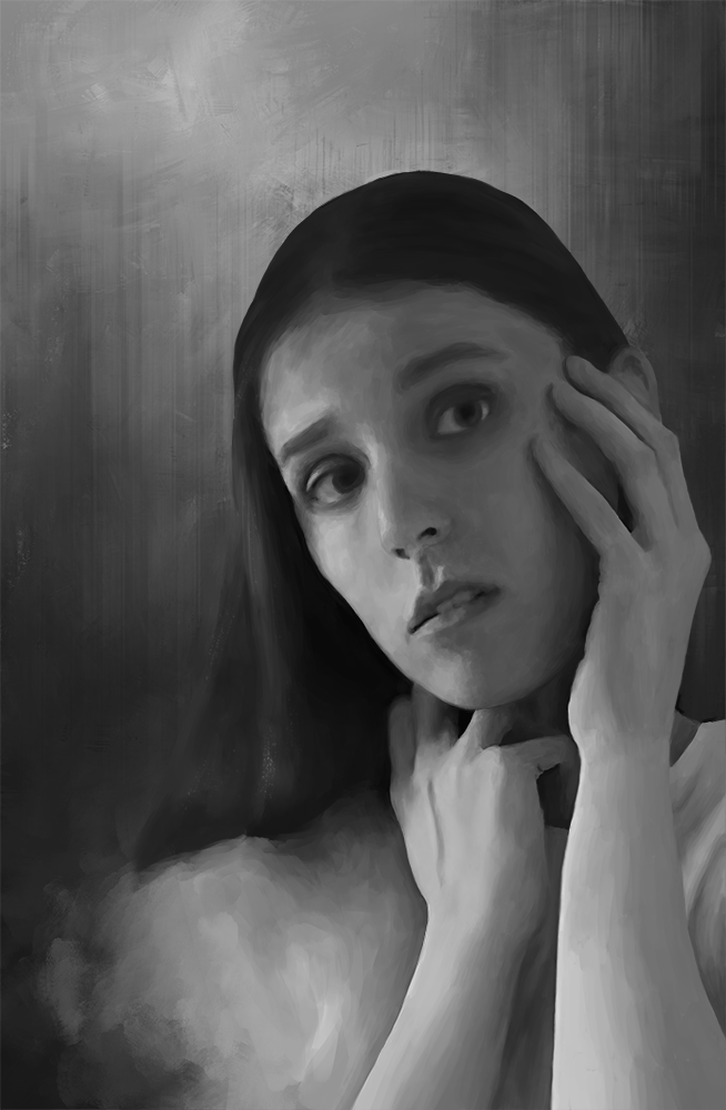 Below You Can See The Greyscale Painting That Was Used As Base For Colorized Version A Skintone Palette And Dramatic Lighting Exercise